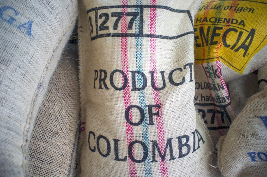 "A bag showing ""product of Colombia"" representing Medcann's medical cannabis business"