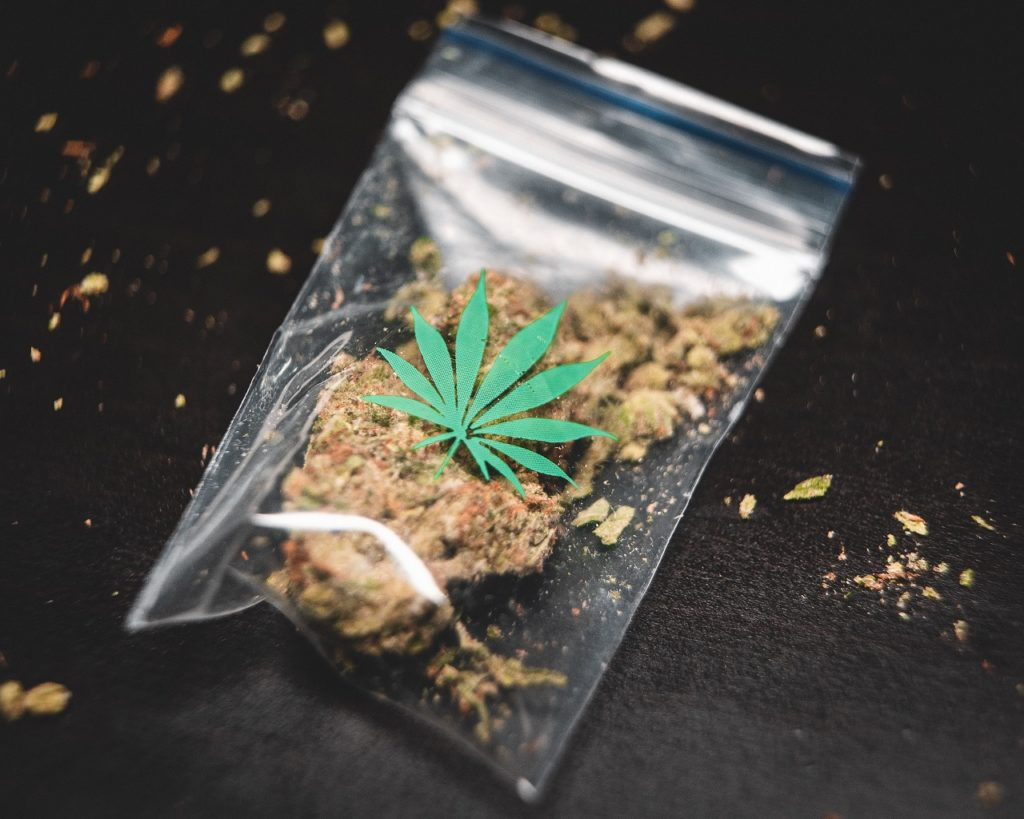 a bag of cannabis representing Italy's cannabis light.